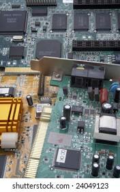 close up of computer parts circuit boards