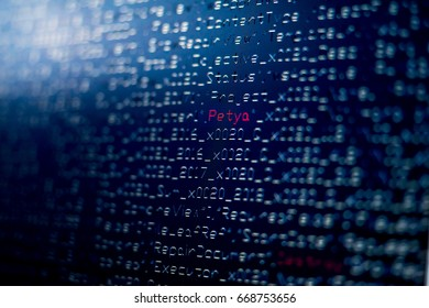 Close up of the computer screen showing computer coding with some red texts. It is a conceptual image of the Petya ransomware.