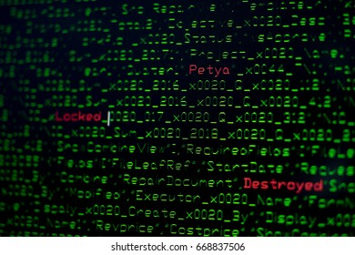 Close up of the computer screen showing the programming code with the red text of Petya. It is a concept image for Petya ransomware. It is like the virus is embedded or disguised in the program code.