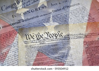 Close up of Constitution of the United States of America with the Declaration of Independence and Bill of Rights