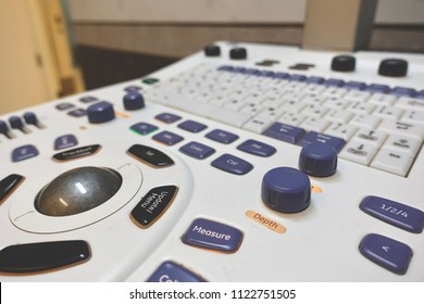 close up of control buttons on keyboard,   electrocardiogram in the hospital, analyzing ECG electrocardiogram of patient in hospital.