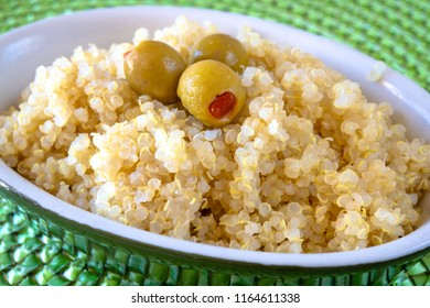 Close up of cooked quinoa. Quinoa is the only food of vegetable origin that provides all the essential amino acids. Healthy eating