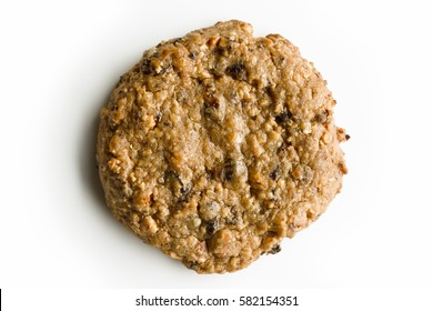 Close up a cookie on isolated white background.