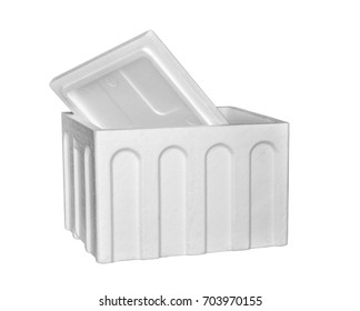 Close up of a cooler box isolated on white background. selective focus. Clipping path included.