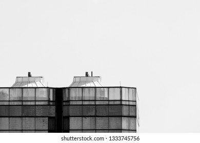 Close up cooling tower on roof top of high rise building. Shoot in black and white shot with copy space.