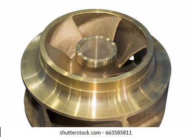 Close up copper closed impeller of centrifugal pump for industrial isolated on white background