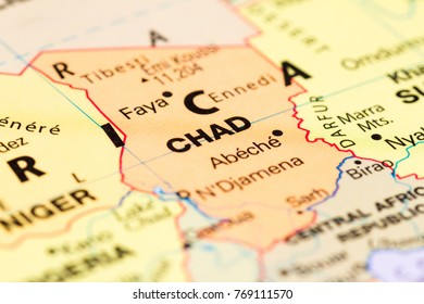 Close up of the country of Chad on a World map