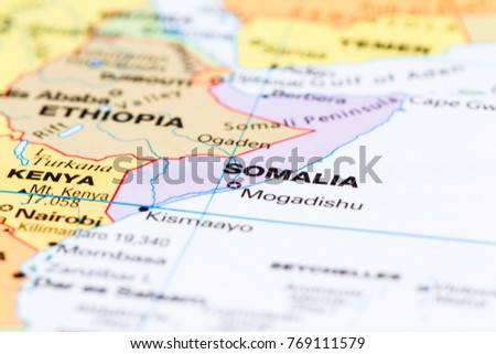 Close Country Somalia On World Map Stock Photo Edit Now 769111579