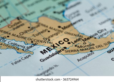 close up of the country of word Mexico on a wold map