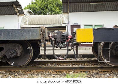 Close up Coupler Body joint or Knuckle Train of bogie coach carriage car train container.