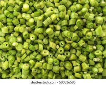 Close up of Cow peas sliced.