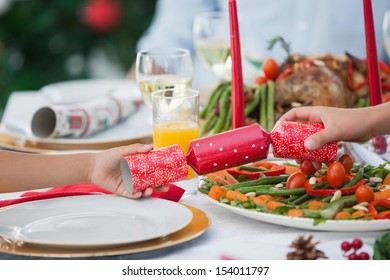 Close up of a crackers on a christmas table