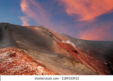 Close to the crater of Etna, Sicily, Italy