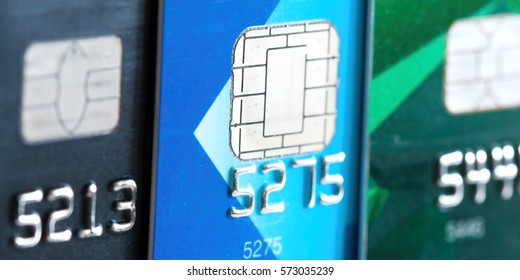 Close up of credit bank card with microchip, macro shot, selective focus