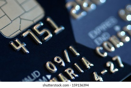 Close up of a credit card. Concept of plastic electronic money.