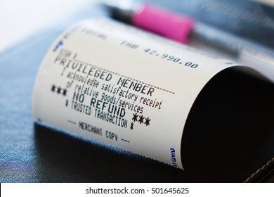 Close up of credit card payment receipt paper