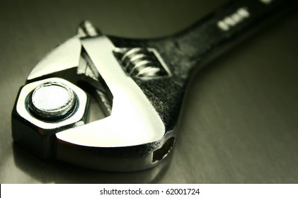 close up of a crescent wrench