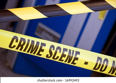 Close up crime scene investigation police boundary tape