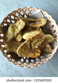 Close up of crispy fried banana or known as pisang goreng for local, famous snack in Malaysia and a few place in south east asia region.