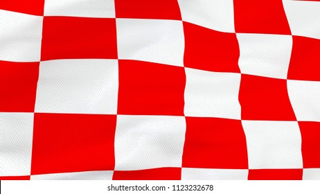 Close up of Croatian red and white checkboard waving flag