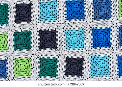 Close up of a crochet banket