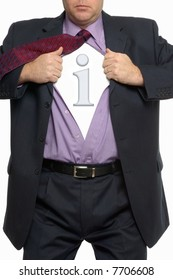 Close cropped image of a businessman pulling his shirt open to reveal an information  icon.