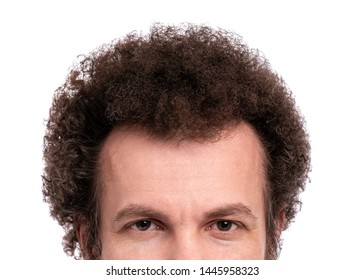 Close up cropped image of male head with Curly Hair. Man looking at camera, isolated on white background