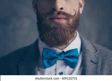 Close up cropped photo portrait of stylish hipster brutal young man with red mustache, heavy thick beard and beautiful hairstyle ready for event party while standing on gray background.