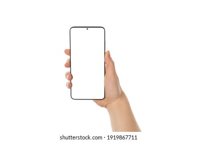 Close up cropped view photo picture of woman's hand holding showing blank empty screen of her smart telephone isolated white color backdrop
