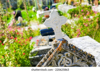 Close up of cross in an old Cemetery