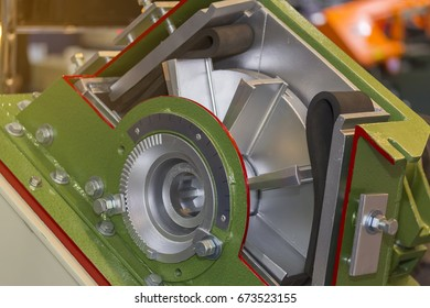 Close up Cross section impeller set and blade of shot blast machine for industrial