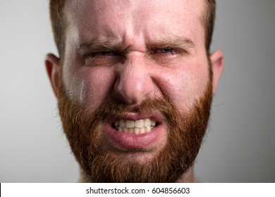 Close Up of a Crying Angry Man with Red Beard