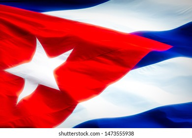 Close up of a Cuban National Flag with a glowing effect applied