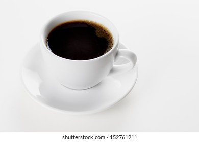 Close up cup of coffee on the white background