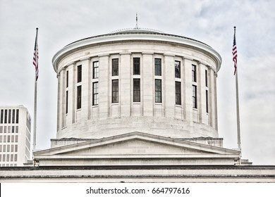 Close up of the cupula at the Ohio Statehouse in Columbus, OH