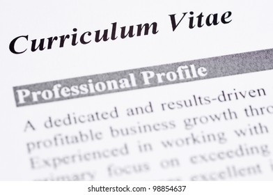 Close up of a Curriculum Vitae with professional profile