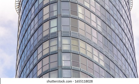 Close up of Curved Glass Building, Horizontal Photography