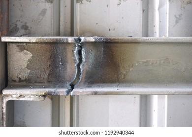 close up cut of metal I beam shape