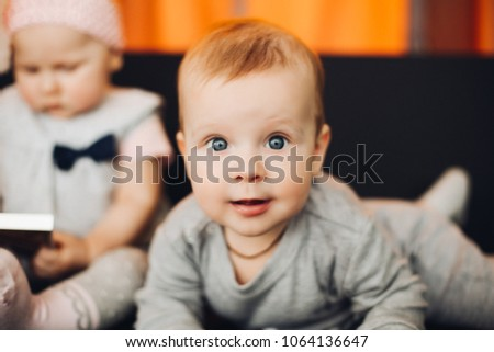 5d713cd2d Close Cute Baby Boy Big Blue Stock Photo (Edit Now) 1064136647 ...