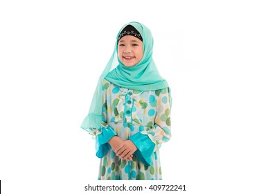 Close up of cute muslim girl on white background isolated.
