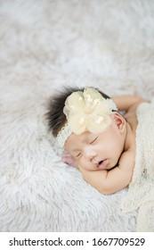 Close up cute Newborn wearing Flower headband on wool carpets, fashion concept