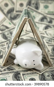 Close up of a cute Piggy Bank under shelter of cash. Shallow depth of field. Lying down to signify sleep, peaceful, or fallen.