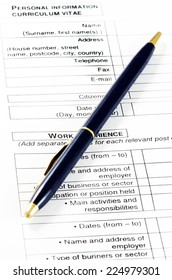 Close up of a CV document with empty spaces.