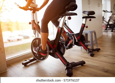 Close up of cycle training at gym-concept