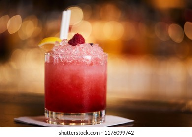 Close Up Of Daiquiri Cocktail On Bar Counter