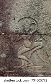 Close up of Dancing Apsara bas-relief on the wall of ancient temple in Angkor Wat area,Siem Reap,Cambodia
