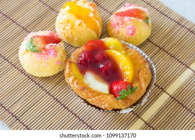 Close up danish with choux cream bakery
