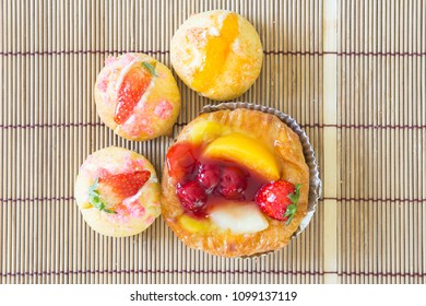 Close up danish with choux cream bakery222