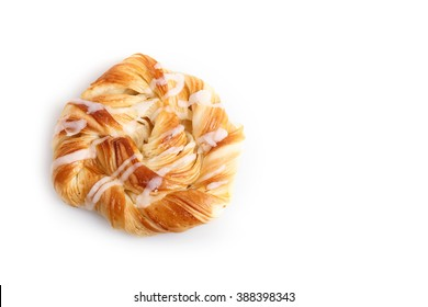 Close up Danish pastries isolated on white background