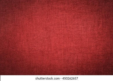 Close up dark red chinese linen fabric texture wall background